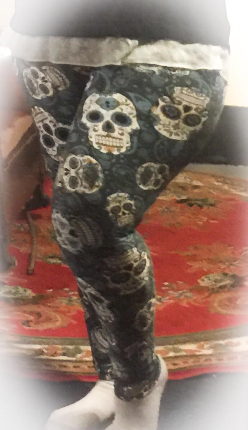 muted blue skulls